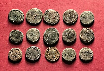 Lot of 15 Ancient Roman Bronze AE2, Follis Coins