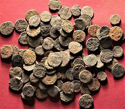 Lot of 100 Ancient Roman Bronze Fragment Coins, AE3, AE4 #1
