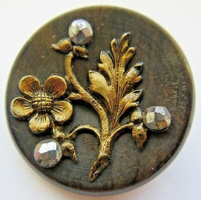 Extraordinary LARGE Antique~ Carved WOOD Picture BUTTON Flower Cut Steels (Z7)