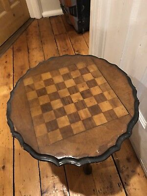 Small Side Table Chessboard piecrust top vintage