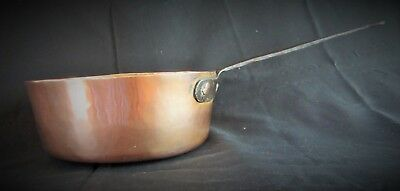 """Antique Medium-Sized French Copper Saucepan Hand-Wrought Iron """"Rat Tail"""" Handle"""