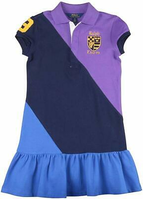 Polo Ralph Lauren Girls Cotton Mesh Rugby Colorblock Polo Crest Patch Dress New