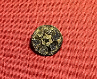 Ancient Roman Enamelled Disc Fibula or Brooch, 3. Century