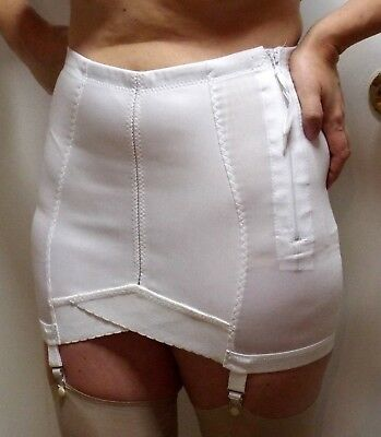 "7X for 44-Waist 12"" Long Open Girdle Vintage NEW Zip-Close 4 Garters Crownette"