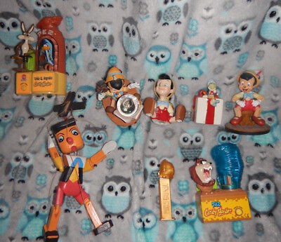 pinocchio bobblehead & jimny the cricket & pinocchio salt & pepper shaker 2 pez