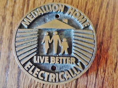Vintage mid century Home Live Better Electrically brass plaque medal madallion