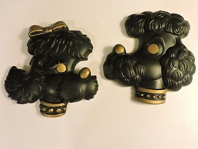 Vintage BLACK French Poodle PAIR Wall Hangings '78 Chalk Ware EXCELLENT & Signed