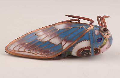 Figurine Cloisonne Hand-Carved Cicada Statue Gift Collection China