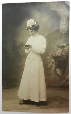 Real Photo - ANTIQUE POSTCARD Nurse Posing in White Uniform and Hat