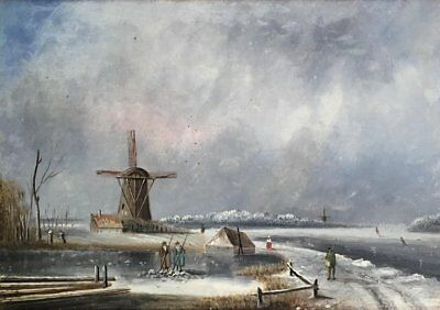 Fine 19Th Century Dutch Oil On Panel - Frozen River Scene Windmill & Figures
