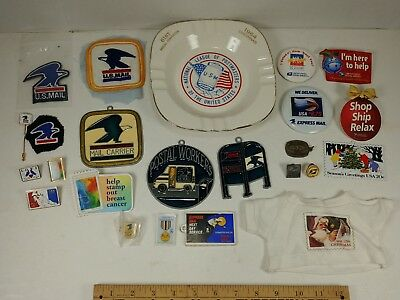 USPS U.S. Mail Collectibles lot Patches Pins Ashtray Rare Vintage