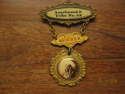 Improved Order of Red Men Member Badge - Asnebumskit Tribe No. 68 - Really Nice!