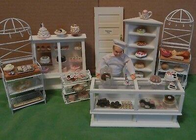 Dollhouse miniatures, complete bakery, Baker with baked goods cases,  quality