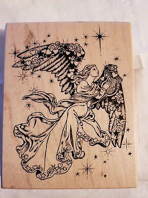 K1332 Ascending Angel with harp 1994 PSX  Rubber Stamp Never Used