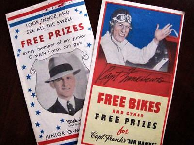 Two Vintage Post Cereal Prize Capt. Frank's Air Hawks Purvis Junior G-Man Corps
