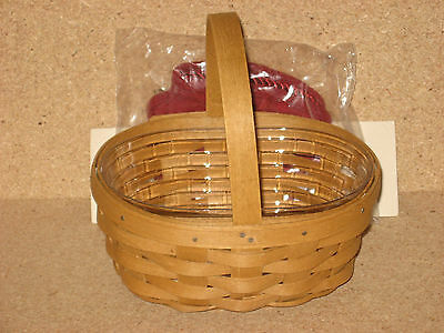 Longaberger Oval Gift Basket warm brown stain with paprika liner & protector