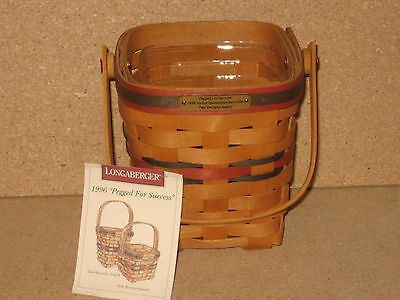 Longaberger 1996 Pegged for Success All American Award Basket large set mint!