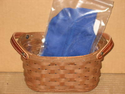 Longaberger Journal Basket rich brown cornflower blue liner prot mint never used