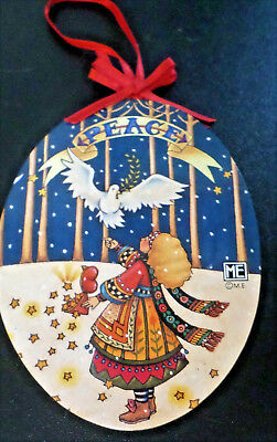 Mary Engelbreit PEACE DOVE Wood Ornament Midwest of Cannon Falls 5.5""