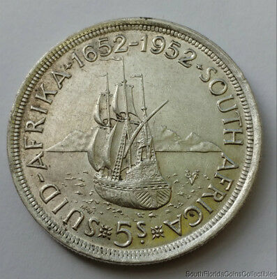 1952 South Africa 5 Shillings .500 Silver Coin