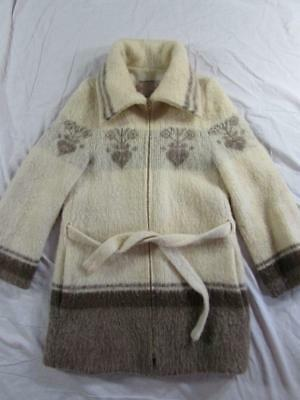 Vtg Ice-Ame Made in Iceland Womens M Wool Sweater Jacket Icelandic Belted 70s