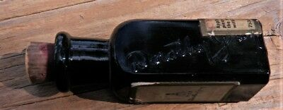 DOROTHY GRAY, NY..Black Glass Cosmetic Bottle, FULL LABELS, & Embossed,Teens Era