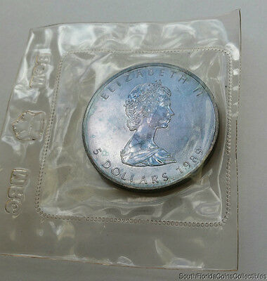 *natural Monster Toning* 1989 $1 Canadian Maple Leaf 1 Ozt .999 Silver