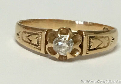 Estate Jewelry Ladies Vintage Diamond Heart Ring 18K Yellow Gold Band Size 6