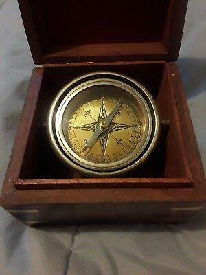 Vintage Ships Naval Maritime Nautical Brass Compass In Wooden Box