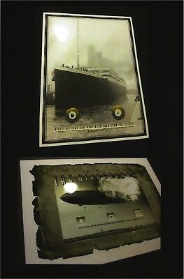 TITANIC & HINDENBURG relics combo.....coal wood fabric duralumin envelope pieces