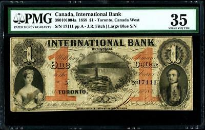 1858 International Bank of Canada $1, Red Protectors PMG35