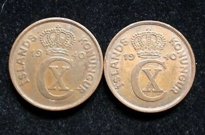 Two 1940 ICELAND 5 Aurar Coins Lot NC17