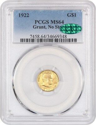 1922 Grant without Star G$1 PCGS/CAC MS64 - Classic Commemorative - Gold Coin