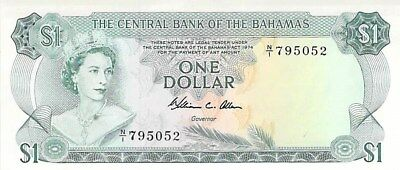 CENTRAL BANK OF THE BAHAMAS $1 DOLLAR NOTE 1974 CU P-35b (SMALL SPOT)