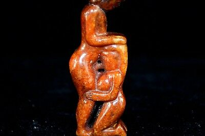 RARE Ancient Chinese Old love Jade Handwork man & woman oral sex naked Statue