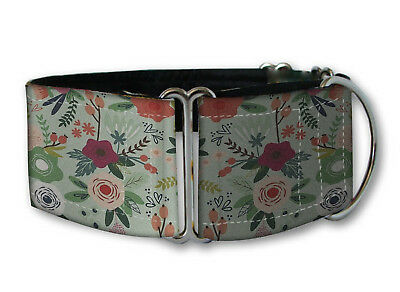 "Martingale Dog Collar Greyhound Whippet Lurcher 1.5"" Mint Floral Shabby chic"
