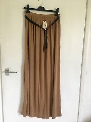 River Island Beige Long Belted Maxi Skirt Size 10