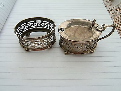 Antique  Pair Of  Solid Silver Mustard & Salt Condiments.  Birmingham 1919.
