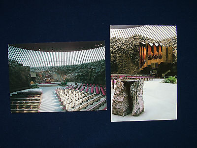 Two Colour Postcards Of Finland - Temppeliaukio Church, Helsinki.
