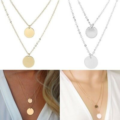Celebrity Multi Layer Chain Karma Circl Round Coin Dics Pendant Necklace UK