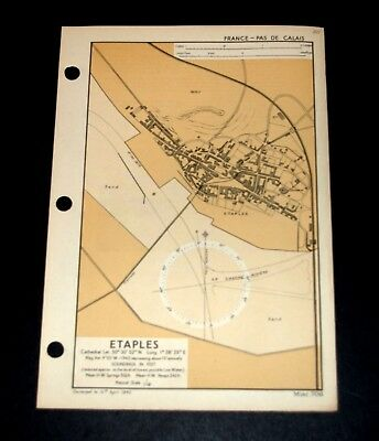 ETAPLES Invasion Planning of France, WW2 Naval Military Map 1943