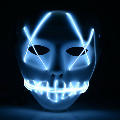 LED Mask Glow Masks Full Face EL Wire Light Up Mask Party Festival Halloween