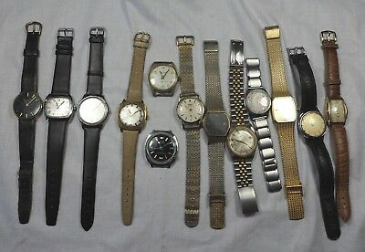 Job Lot Of 14 Vintage  Mens Mechanical Wrist Watches 4 Spares Or Repairs Only