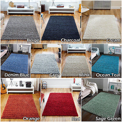 QUALITY LUXURY MODERN RUG 4.5cm THICK PLAIN NON SHED SALE SHAGGY RUGS RUNNER NEW