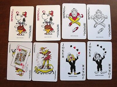 Lot Of 8 Joker Swap Playing Cards, All Matching Pair, Very Nice Condition