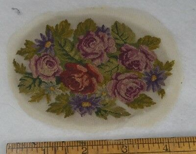 petit point miniature 5 in. needle point floral oval  doll house antique