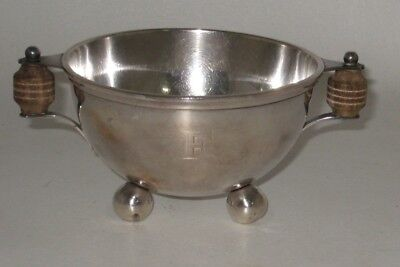 """Antique Cartier Sterling Silver 3 Footed Bowl w/ Wood Handles 4.5"""" in Diameter"""