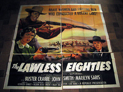 The Lawless Eighties 1957 Original 81X81 6-Sheet Movie Poster Buster Crabbe