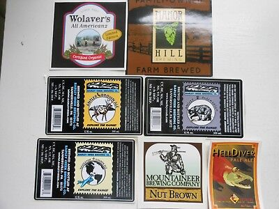 7 Craft Beer Sticker Labels-Mountaineer,sockeye-Hell Diver,manor Hill,wolaver's