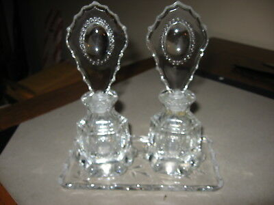Vintage Two Bottle Perfume Dresser Set With Tray Beaded Jewel Pattern